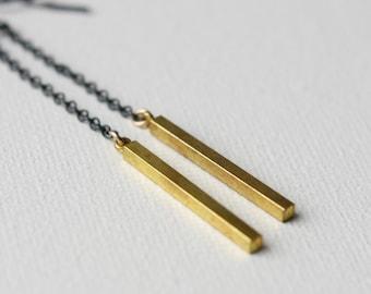 Mixed Metal Bar Earrings, Long Brass Chain Earrings, Oxidized Silver Jewelry, Silver Dangle Earrings, Modern Drop Earrings