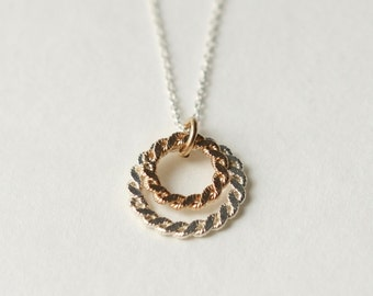 Mixed Metal Geometric Circle Necklace
