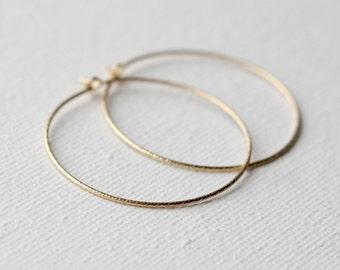 Thin Gold Hoop Earrings