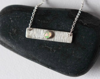 Geometric Silver Opal  Necklace