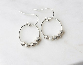 Sterling Silver Faceted Nugget Hoop Earrings