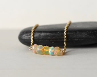 Gold Faceted Opal Bar Necklace