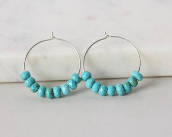 Faceted Turquoise Sterling Silver Hoop Earrings