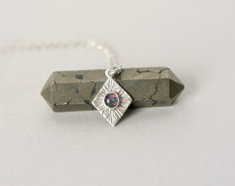 Silver Geometric Australian Opal Necklace