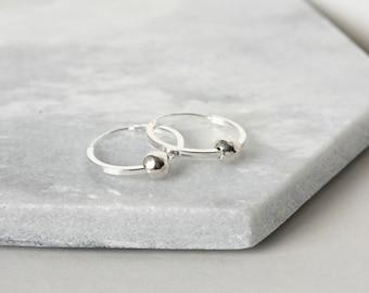 Faceted Beaded Sterling Silver Hoop Earrings