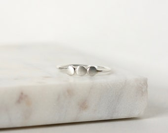 Three Pebble Sterling Silver Stacking Ring