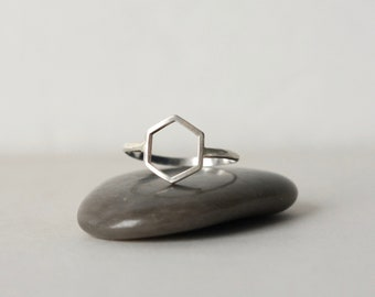 Sterling Silver Hexagon Geometric Ring