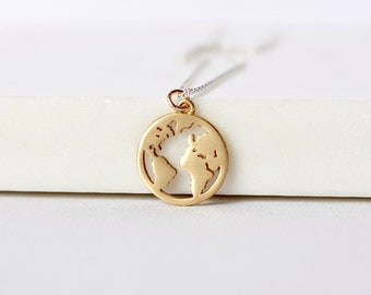 Brass Globe Charm Necklace
