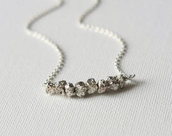Sterling Silver Rough Silver Pyrite Necklace