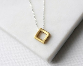Minimalist Brass Geometric Layering Necklace