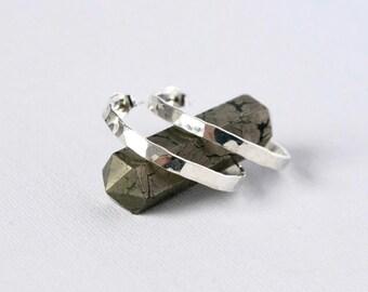 Shiny Hammered Sterling Silver Hoop Earrings