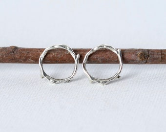 Rustic Small Silver Twig Studs