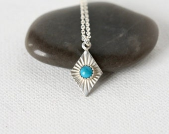 Sterling Silver Geometric Turquoise Necklace