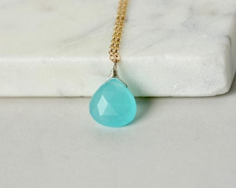 Gold Faceted Aqua Chalcedony Briolette Necklace