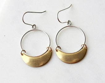 Silver and Brass Hoop Earrings