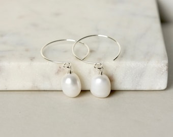 Baroque White Pearl Silver Hoop Earrings