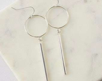 Modern Sterling Silver Geometric Earrings