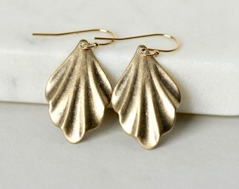 Modern Brass Leaf Earrings