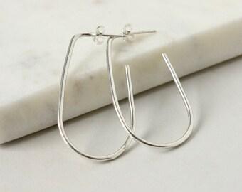 Minimalist Sterling Silver Long Oval Hoop Earrings
