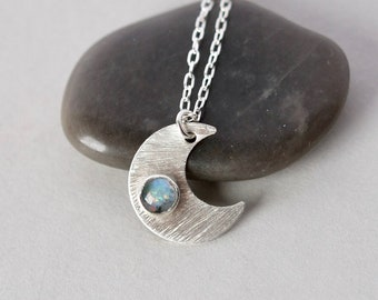 Sterling Silver Opal Crescent Moon Necklace