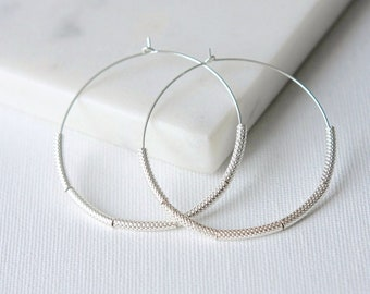 Big Sterling Silver Hoop Earrings, Silver Geometric Jewelry, Large Trendy Hoops, Statement Earrings, Gift for Her, Sterling Circle Earrings