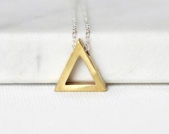 Modern Brass Geometric Necklace