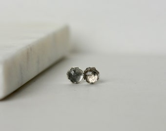 Sterling Silver Faceted Rutilated Quartz Stud Earrings