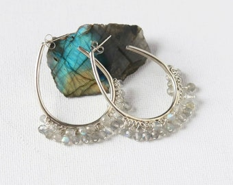 Big Faceted Labradorite Hoop Earrings
