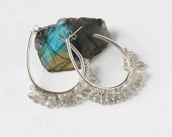 Faceted Labradorite Hoop Earrings, Big Silver Hoops, Gemstone Statement Earrings, Labradorite Jewelry, Gift for Women
