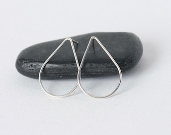 Modern Silver Teardrop Stud Earrings