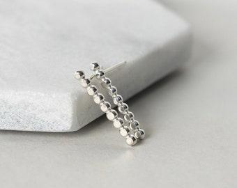 Hammered Sterling Silver Beaded Bar Earrings