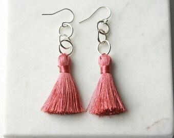 Long Silky Tassel Earrings, Sterling Silver Geometric Earrings, Boho Style Jewelry, Bohemian Earrings, Summer Style, Gift for Women