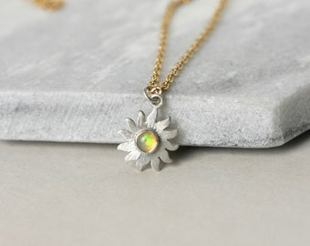 Sterling Silver Sunburst Opal Necklace