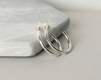 Hammered Sterling Silver Everyday Hoop Earrings