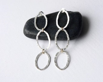 Hammered Sterling Silver Geometric Dangle Earrings
