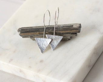 Shiny Sterling Silver Triangle Earrings