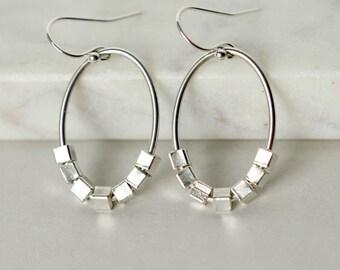 Faceted Silver Teardrop Stud Earrings