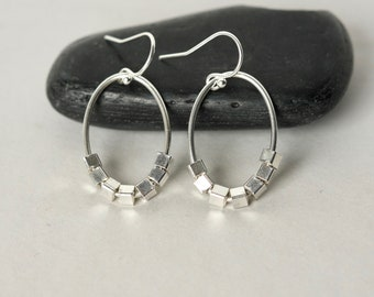 Faceted Silver Teardrop Stud Earrings