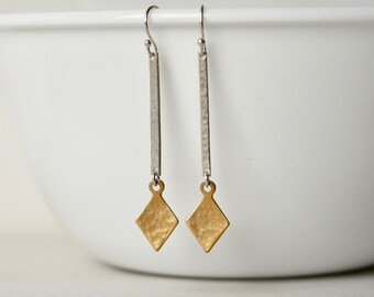 Mixed Metal Geometric Dangle Earrings