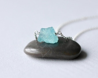 Sterling Silver Aquamarine Nugget Necklace