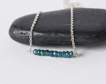 Sterling Silver Faceted London Blue Topaz Necklace