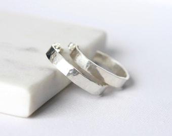 Wide Hammered Sterling Silver Hoop Earrings