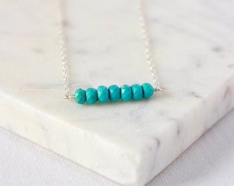 Sterling Silver Faceted Turquoise Necklace