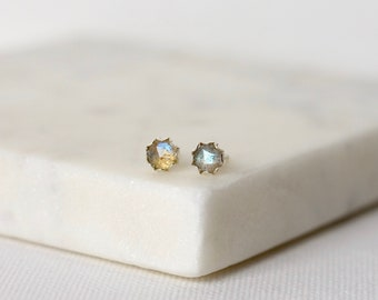 Faceted Labradorite Stud Earrings