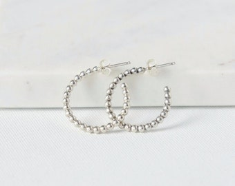 Small Beaded Sterling Silver Hoop Earrings