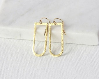 Hammered Brass Geometric Earrings