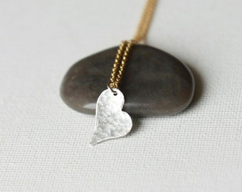 Hammered Sterling Silver Heart Necklace