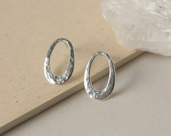 Hammered Sterling Silver Oval Studs, Minimalist Geometric Earrings, Modern Everyday Jewelry, Gift for Women, Large Silver Studs