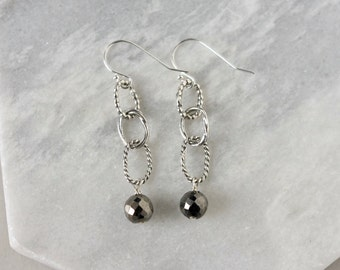 Faceted Gemstone Dangle Earrings, Rustic Sterling Silver Chain Earrings, Long Geometric Earrings, Gift for Women, Pyrite Beads