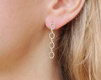Thick Sterling Silver Chain Earrings, Chunky Chain Link Studs, Long Dangle Earrings, Modern Geometric Jewelry, Gift for Women